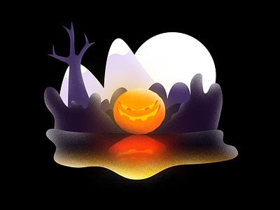 Pumpkeyvl! spooky halloween grain backlit gradients noise contrast dissolve scenery character illustration