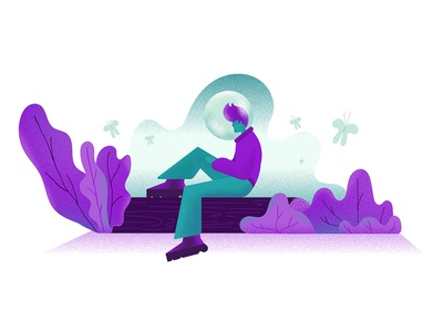 Worlds dissolve sitting leaves purple cyan backlit gradients design noise scenery character illustration