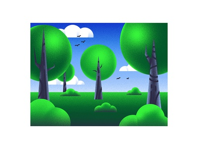 Forest green trees forest nature abstract grain backlit scenery gradients noise dissolve illustration