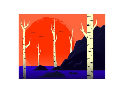 latenovember forest land dead trees abstract blue backlit scenery contrast gradients noise dissolve illustration