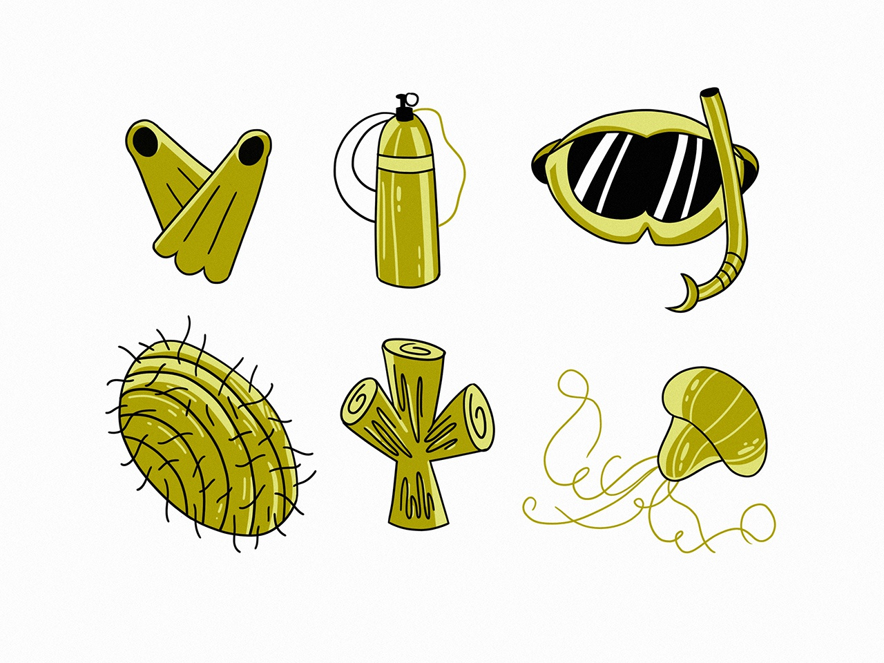 Diving icon set lineart cute objects sea creatures sealife sea food scuba diving sea icons logo design illustration