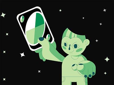 Wildcard vector comic green stars galaxy space monochrome character design illustration