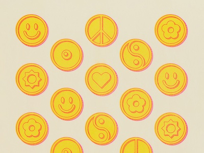 Flip It happy sunshine balance harmony money graphic drawing design illustration coin