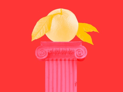 Orange on a Pillar politics column pillar fruit orange collage design illustration