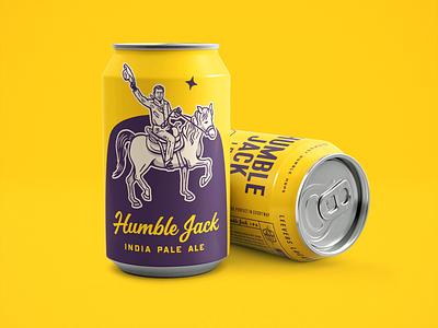 Humble Jack IPA Beer Cans graphic design beverage liquor beer packaging hat cowboy horse logo branding wacom drawing lettering design illustration