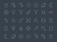 Cosmic Calendar Symbol Icon Set