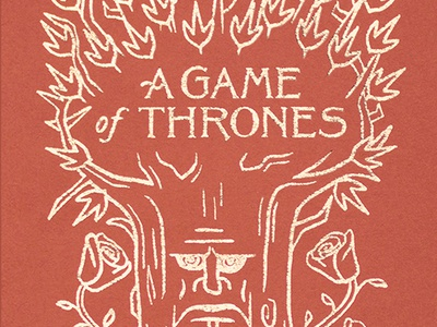 A Game of Thrones Book Cover gold foil fantasy thrones medieval book cover book red face tree rose lettering drawing wacom design illustration
