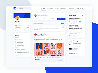 Linkedin Redesign Concept post profile network timeline media minimal clean blue inter dashboard feed social linkedin interface ui design web