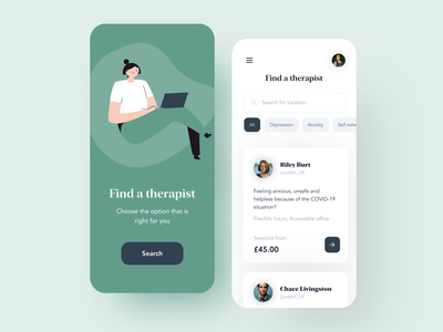 Therapy Search iPhone Concept App typography interface vector design card search ui illustration green minimal clean app daily ui iphone ios mobile