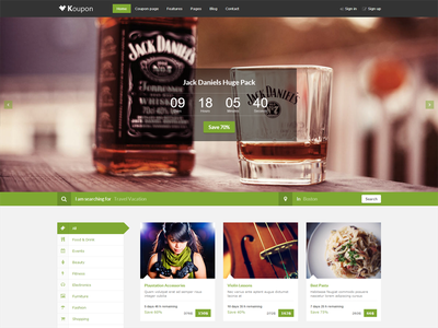 Template for Coupon website coupon template premium clear ui modern html css jquery bootstrap