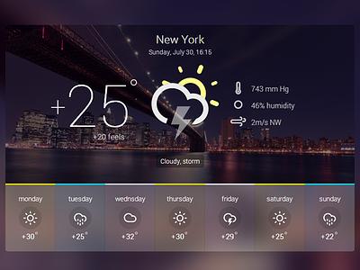 Weather Widget freebie HTML/CSS animation new york storm freebie free html css weather widget ux