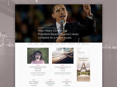 Magazine template concept magazine website