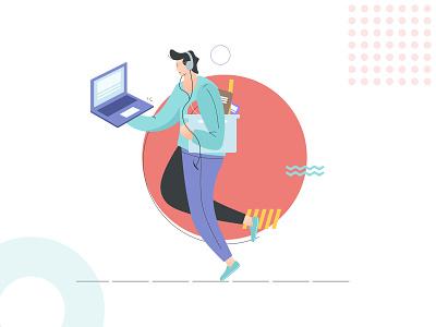 Busy Illustration character popular dribbble flat illustration flat design flat illustration design system branding vector illustration design ux ui