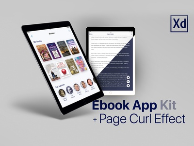Ebook App UI Kit + Page Curl Effect Animation