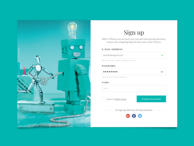 Sign Up Tiffany Daily UI Challenge #001