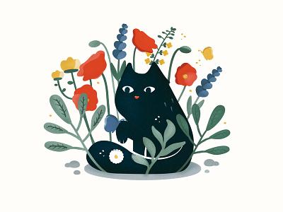 Black cat in the garden cute logos cute cat flowers floral garden garden cat cat