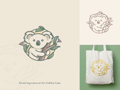 Cute logo mascot for Golden Gum Australia freelancer utrecht liza geurts crealizable cute logo