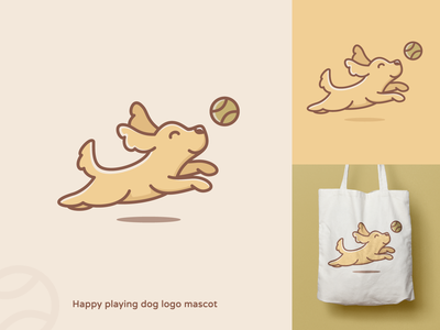 Happy playing dog logo mascot colorful fun logo playful logo cute logo pet logo crealizable dog logos dog mascot dogs dog dog logo