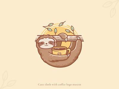 Cute sloth having coffee logo mascot playful logo fun logo cute logos coffee mascot cafe mascot funny sloth crealizable logo for sale cute sloth logo mascot sloths cute sloth sloth logo