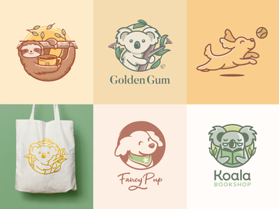 Animal logos crealizable cute logos sloth logo dog logo pet logo animal logos animals