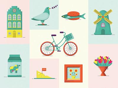 Dutch illustration netherlands amsterdam modern colorful illustration dutch