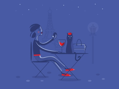 Waiting for a date in Paris french colorful funny illustration modern simple paris