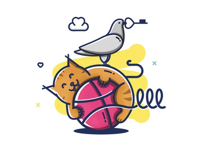 Two Dribbble invites giveaway dribbble ball colorful cat modern illustration dribbble invites