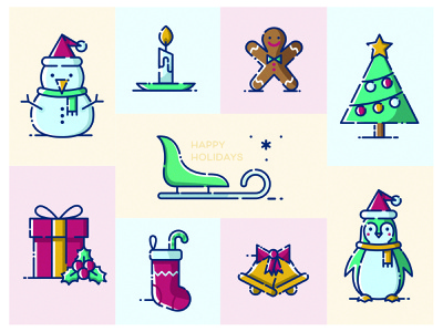 Happy Holidays character design christmas icons holidays colorful icons icon design christmas card