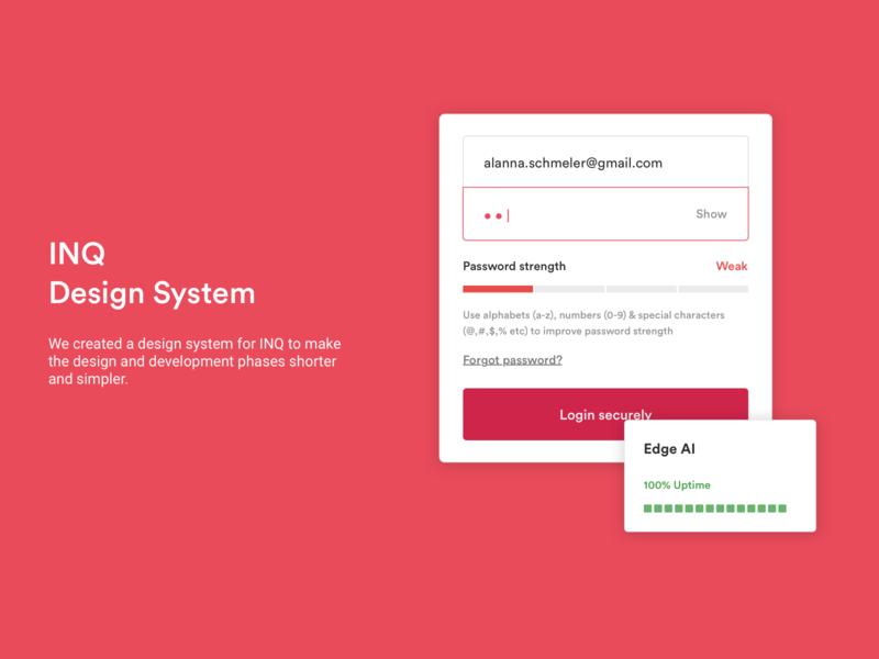 Design System | INQ | Enterprise Network Management Platform product design primary colors lists dropdown button styles inputs text styles cards color buttons components component library design system