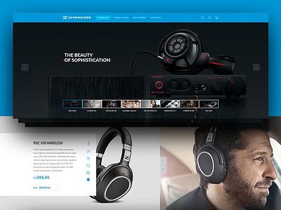 Sennheiser Ecommerce Concecpt interface ux ui headphone headset sennheiser ecommerce