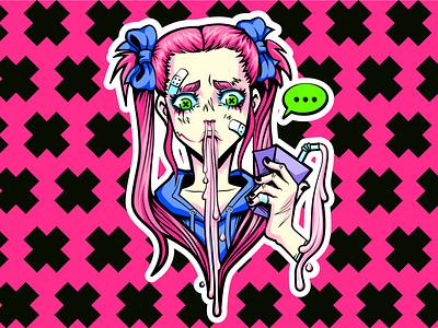 milkshake character girl vector illustration