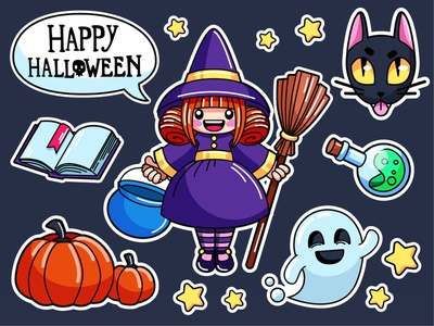 witch stickers pumpkin ghost stickers flat halloween girl cat sticker charachters illustration vector