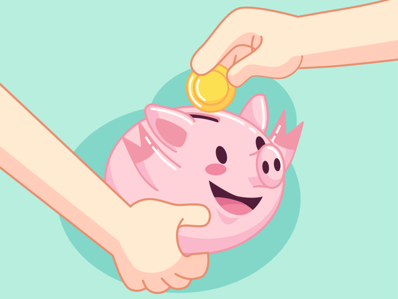 happy piggy bank piggy flat charachters illustration vector design