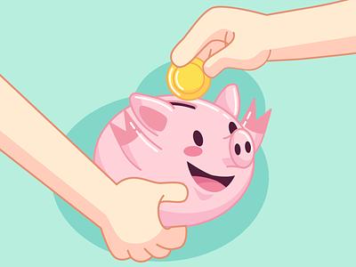 happy piggy bank piggy flat charachters illustration vector design