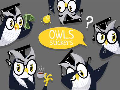 owls owl stickers sticker flat charachters illustration vector design