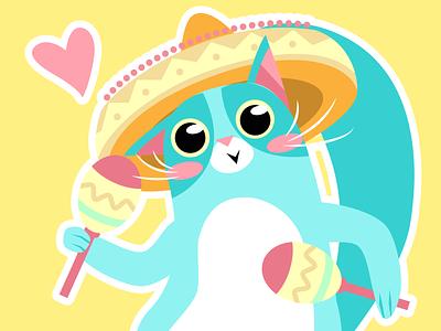 cat with maracas cat flat charachters illustration vector design