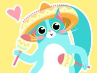 cat with maracas