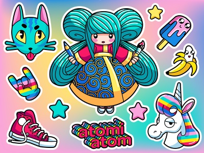 colorful stickers stickers charachters illustration vector design