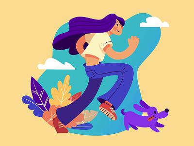 Run charachters illustration vector design