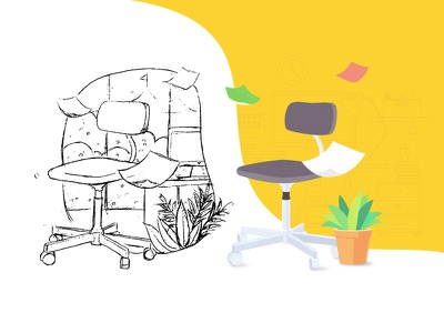 Office Illustration desk desk lamp paper computer botany office chair recruiting hand-painted yellow vector illustration