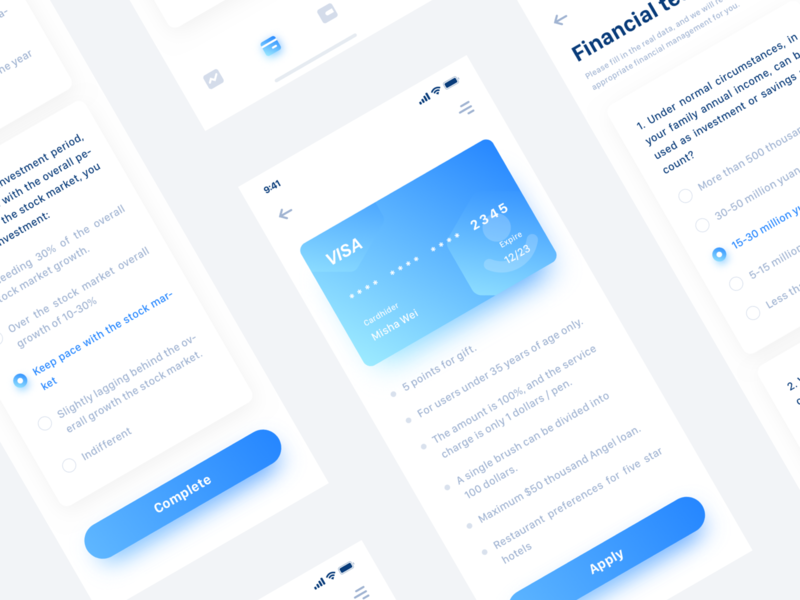 Finance App Design Project ux ui pay llustration interface icon graphics finance data dashboard colorful clean chart card blue banner bank app