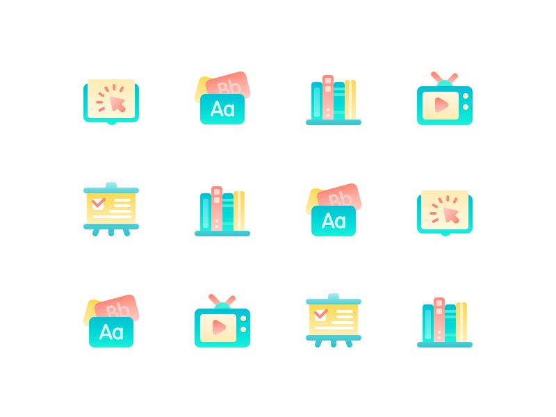 Icons For Misha Design class blackboard television live broadcasting english words clicks books reading gradients colors icons education