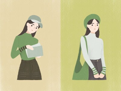 Girl By Misha read a book vector portrait green spring illustration girl drawing