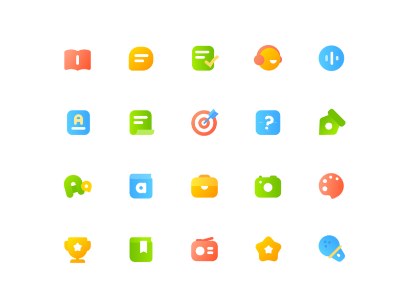Color Education Icon By Misha recording collection read honor painting photograph tool dictionary grammar writing dictation target examination word audio hearing task speak book color education icon