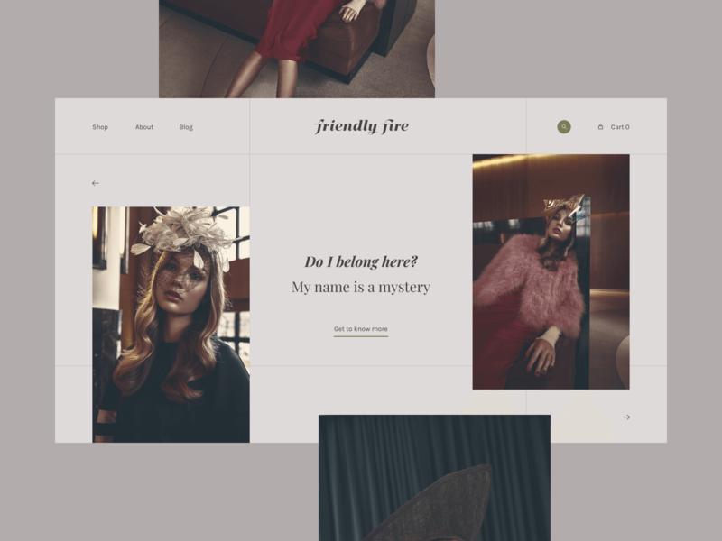 Friendly Fire Landing Page layout shop store ecommerce photoshoot website branding fashion concept web interaction design ux  ui ui ux design ui design landing page homepage