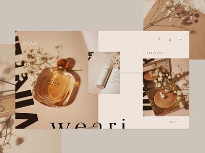Weari — Landing Page ecommerce adobe xd website web design store shop cosmetics beauty landing page homepage concept ui ux hero ui design