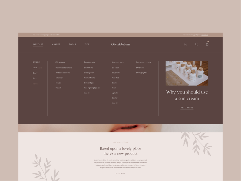 Testing concept with live preview live code branding skincare ui ux design front-end auto animate animation adobe xd web design homepage concept website shop store ecommerce landing page ui design