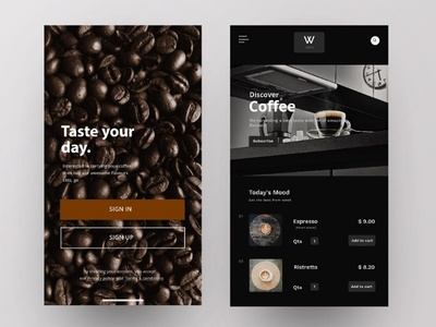 Caffee App concept white ux interface user exploration hover materialon interaction grid design fluent cleanui