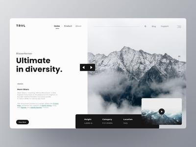 TRVL : Landing page branding trend flat typography website web ui materialon animation app fluent interaction user webdesigner white ux interface exploration design cleanui