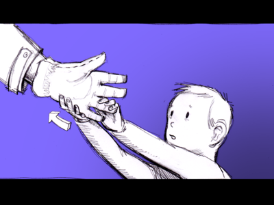 Don't forget your gloves, Dad! storyboard pencil drawing